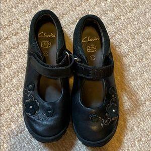 Girls Clark's black dress shoes